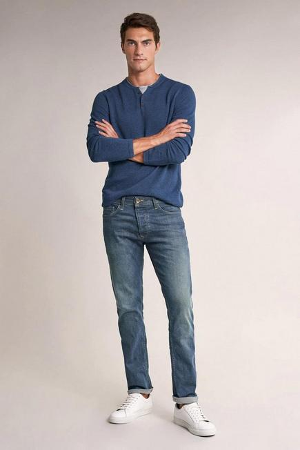 Salsa Jeans - Blue Lima tapered greencast jeans with light wear