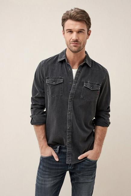 Salsa Jeans - Dark Grey Slim Fit Denim Shirt, Men