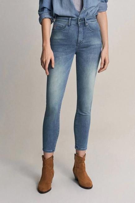 Salsa Jeans - Blue Secret glamour push in cropped jeans in rinsed denim
