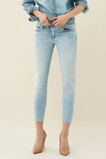 Salsa Jeans - Blue Push Up Wonder cropped jeans with stitching