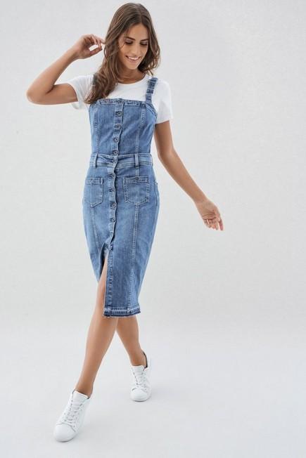 Salsa Jeans - Blue Denim Pinafore Dress, Women