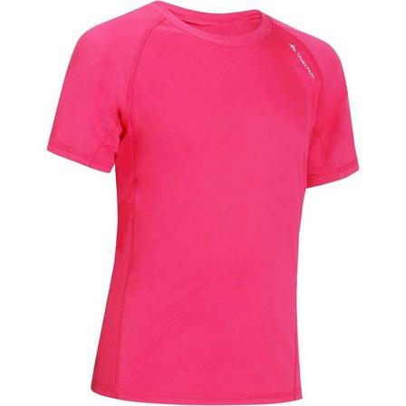 QUECHUA - 10-11Y  Boys' Hike 100 hiking T-shirt, Bright Pink