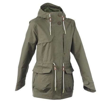 QUECHUA - Extra Large  Women's Waterproof Hiking Jacket - NH550 Imper, Dark Ivy Green