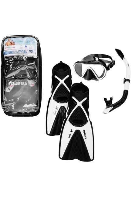 MARES - M/L  Adults' freediving fins mask snorkel kit X One - black white, Black