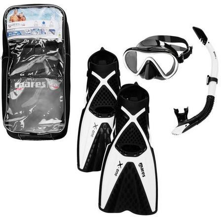 MARES - L/XL  Adults' freediving fins mask snorkel kit X One - black white, Black