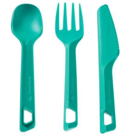 QUECHUA - Unique Size  Set of 3 hiker's camp plastic cutlery items (knife, fork, spoon), Caribbean Green