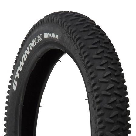BTWIN - Unique size  Dry Grip Kids' Mountain Bike Tyre - 12x1.75, Black