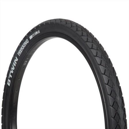 BTWIN - Unique size  Trekking Grip Hybrid Bike Tyre - 24x1.75, Black