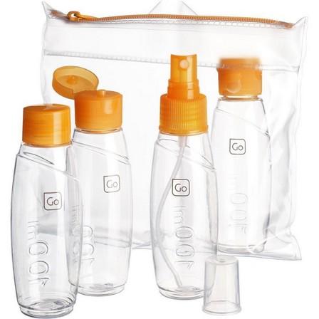 DESIGN GO - Unique Size  Set of 4 - Approved 100 ml trekking travel bottles, Default