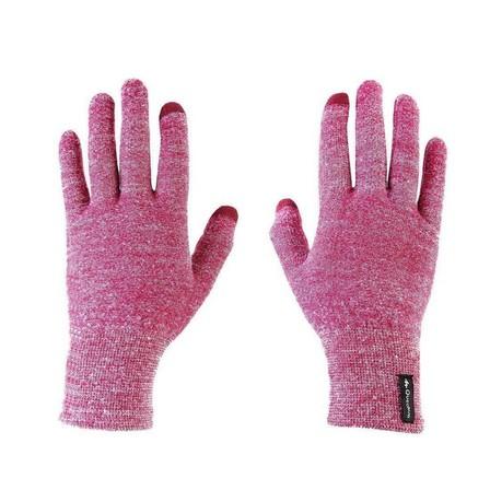 FORCLAZ - XL/2XL  Unisex Mountain Trekking Touchscreen-Compatible Liner Gloves Trek 500, Cardinal Pink