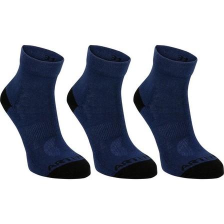 ARTENGO - EU 27-30  Kids' Tennis Socks RS 160 Mid Tri-Pack Navy, Asphalt Blue