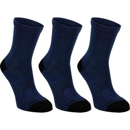 ARTENGO - EU 27-30  Kids' High Tennis Socks Tri-Pack RS 160 Navy, Navy Blue