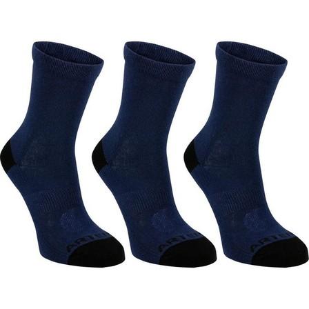 ARTENGO - EU 35-38  Kids' High Tennis Socks Tri-Pack RS 160 Navy, Navy Blue