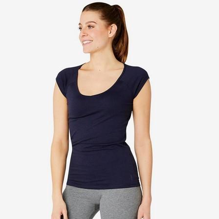 NYAMBA - Large  Women's Slim T-Shirt 500, Navy Blue