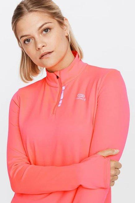 KALENJI - Small  Run Warm Women's Long-Sleeved T-Shirt Zip, Fluo Coral Pink