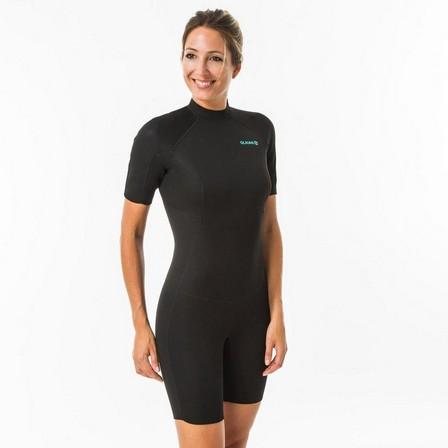 OLAIAN - Extra Large  Women's Surfing Neoprene Shorty with 1.5 mm foam back zip - Black, Black