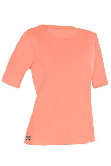 OLAIAN - Small  WATER T-SHIRT anti UV surf Short-sleeved women coral fluo, Fluo Peach