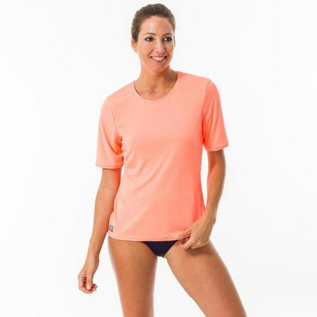 OLAIAN - Extra Large  WATER T-SHIRT anti UV surf Short-sleeved women coral fluo, Fluo Peach