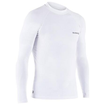 OLAIAN - Large  100 Men's Long Sleeve UV Protection Surfing Top T-Shirt, Snow White