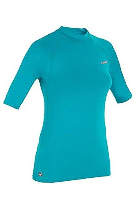 OLAIAN - Small  100 Women's Short Sleeve UV Protection Surfing Top T-Shirt, Dark Peacock Blue