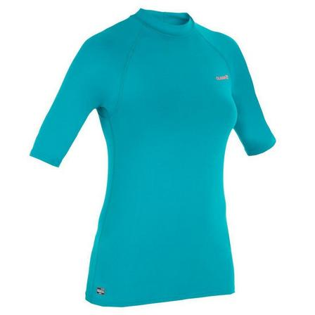 OLAIAN - 2XL  100 Women's Short Sleeve UV Protection Surfing Top T-Shirt, Dark Peacock Blue