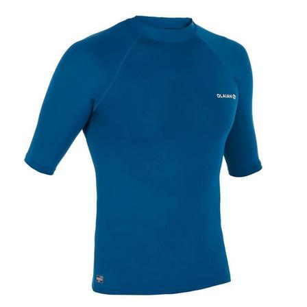 OLAIAN - Small  100 Men's Short Sleeve UV Protection Surfing Top T-Shirt - Fluorescent, Petrol Blue