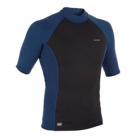 OLAIAN - Large  Men's short-sleeved neoprene thermal UV-protection surfing T-Shirt top - Black, Black