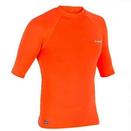OLAIAN - Extra Small  100 Men's Short Sleeve UV Protection Surfing Top T-Shirt - Fluorescent, Fluo Blood Orange
