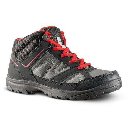 QUECHUA - EU 36  Kids Hiking Boots 35 TO 38 Mid JR MH100, Carbon Grey