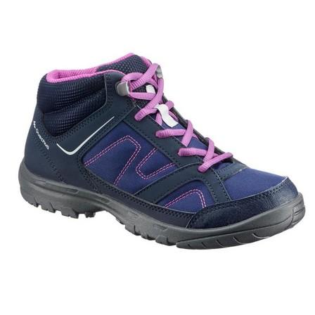 QUECHUA - EU 37  Kids Hiking Boots 35 TO 38 Mid JR MH100, Asphalt Blue