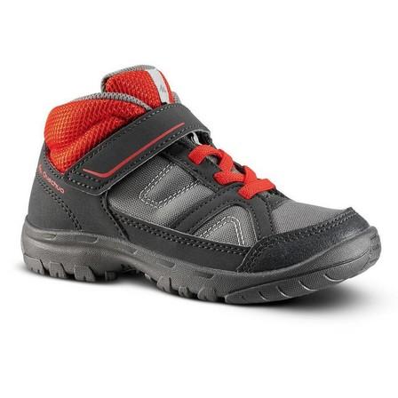 QUECHUA - EU 27  Kids High Top Hiking Shoes MH 100 MID KID 24 TO 34, Carbon Grey