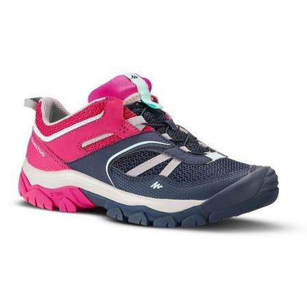 QUECHUA - EU 37  Girl's low mountain walking lace-up shoes Crossrock - Blue/Pink 3-5.5, Bright Pink