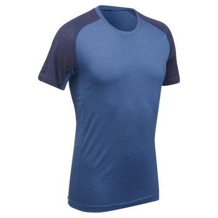 FORCLAZ - Small  Men's Mountain Trekking Short-Sleeved T-Shirt Trek 500 Merino, Whale Grey