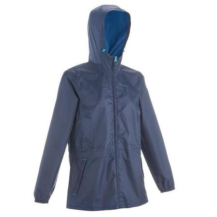 QUECHUA - Small  Women's Country Walking Waterproof Jacket Raincut Zip, Navy Blue