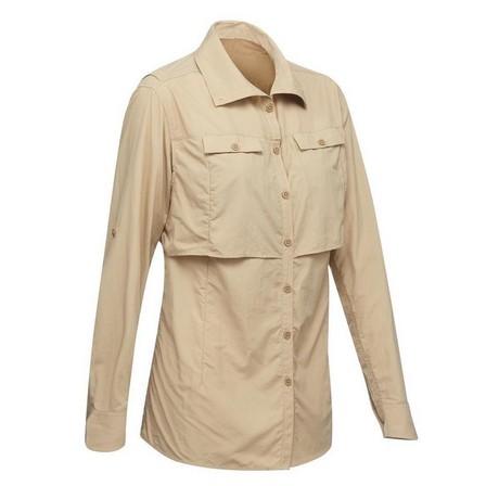 FORCLAZ - Extra Small  Desert 500 Women's Long-Sleeved Trekking Shirt - Beige, Sand