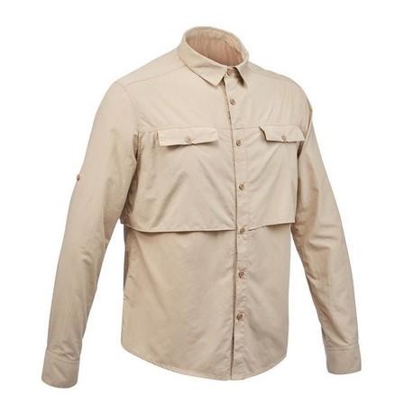 FORCLAZ - Small  Men's long sleeved anti-UV desert trekking shirt - DESERT 500 - Beige, Sand