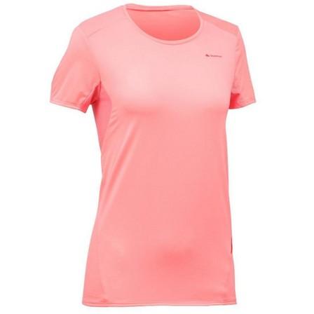 QUECHUA - Medium  Women's Mountain Walking Short-Sleeved T-Shirt MH100 - Lychee, Bubblegum