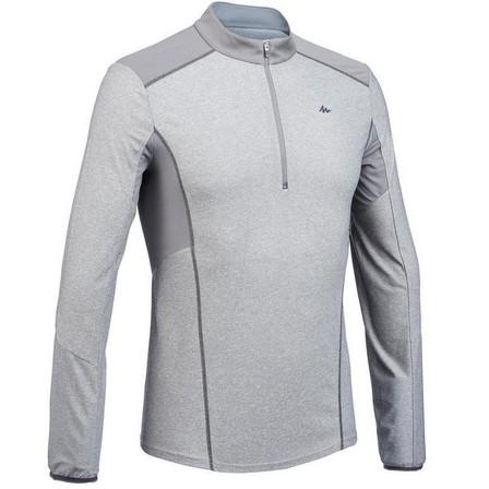 QUECHUA - Small  Men's long-sleeved mountain walking t-shirt - MH550, Granite