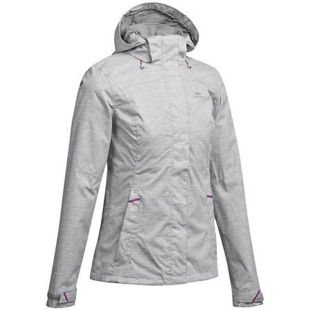QUECHUA - Small  Women's waterproof mountain walking jacket MH100, Grey