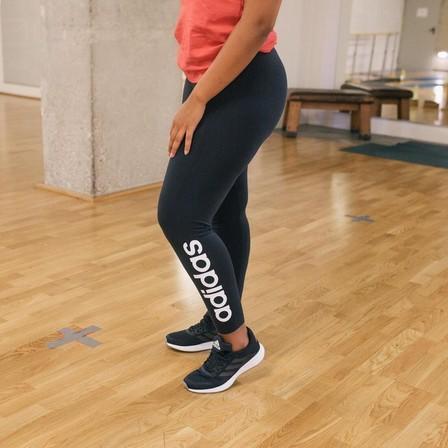 ADIDAS - Medium  Women's Leggings - Navy Blue with Logo, Navy Blue