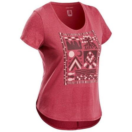 QUECHUA - Large  Women's Country Walking T-shirt - NH500, Burgundy