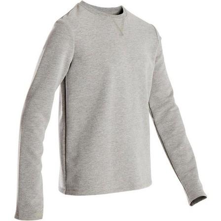 DOMYOS - 7-8Y  100 Boys' Gym Sweatshirt - Light Grey, Zinc Grey