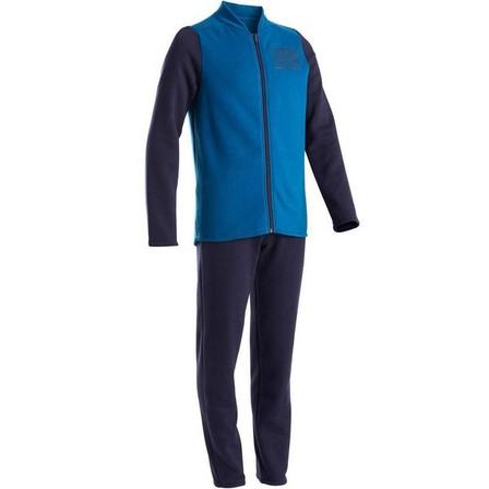 DOMYOS - 7-8Y  100 Warmy Boys' Warm Zip-Up Gym Tracksuit - Blue/Navy, Navy Blue