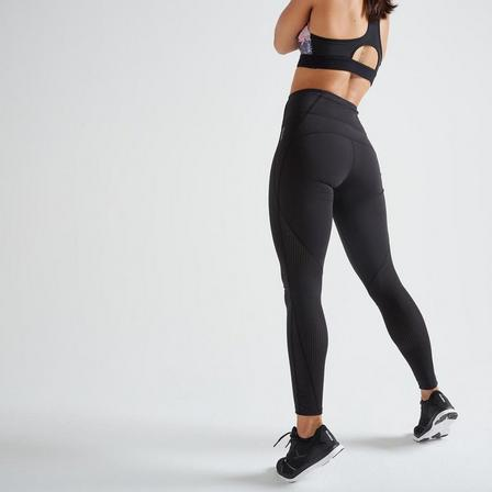 DOMYOS - W33 L31  Fitness High-Waisted Shaping Leggings, Black