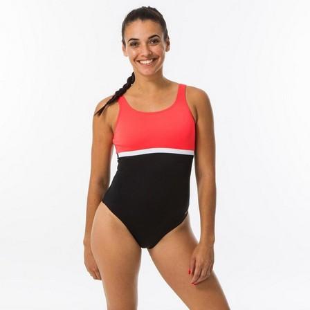 NABAIJI - Large  Women's Swimming 1-piece Swimsuit Heva Li - Black Coral, Strawberry Pink