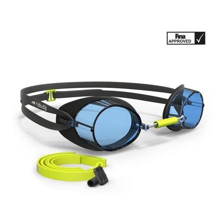 NABAIJI - Unique Size  Swedish Swimming Goggles 900 - Black Yellow Clear Lenses, Black