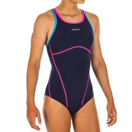 NABAIJI - 8-9Y  Girls' one-piece swimsuit Kamiye - Blue, Navy Blue
