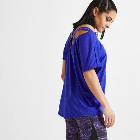 DOMYOS - Small  Loose Fitness T-Shirt, Blueberry
