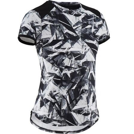 DOMYOS - 5-6Y  Girls' Breathable Synthetic Short-Sleeved Gym T-Shirt S500 - Black Print, Black