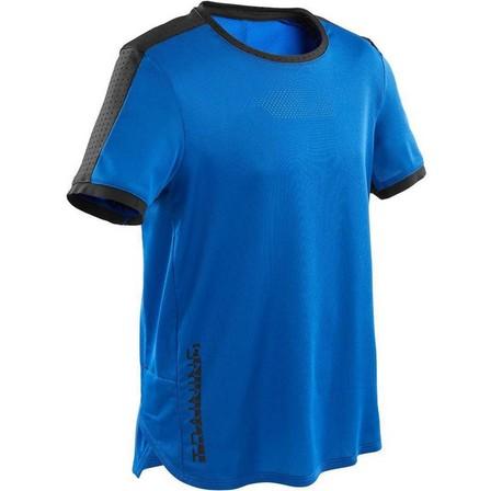 DOMYOS - 12-13 Years  Boys' Technical Breathable Gym T-Shirt S900, Royal Blue